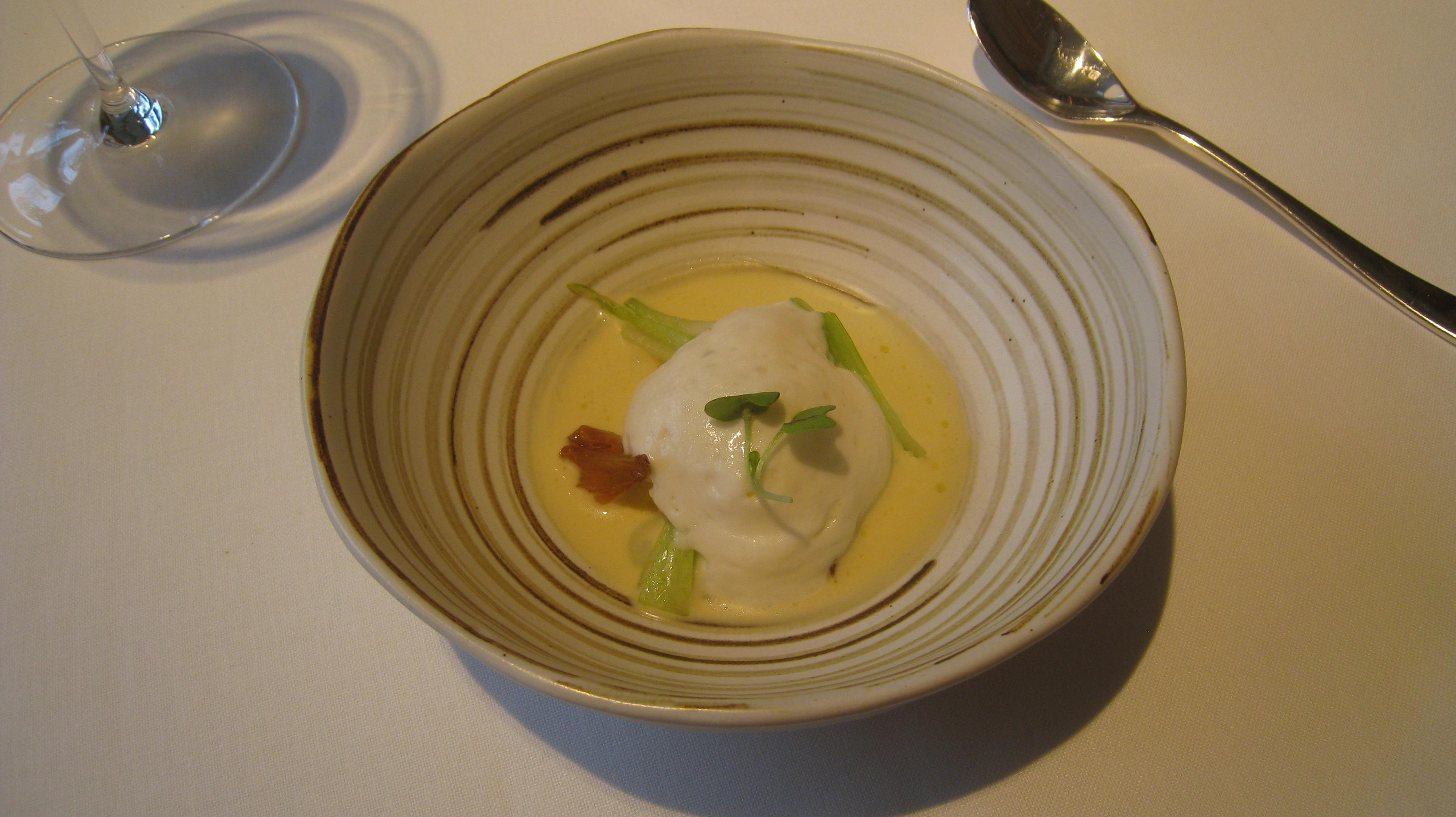 Salt-cod brandade with foam in an olive oil soup